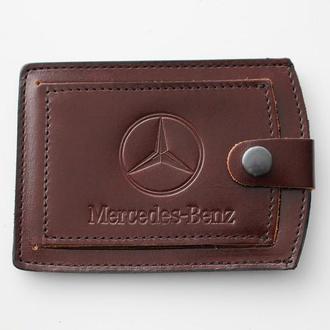 Кожаная обложка для прав Mercedes каштановая 5072