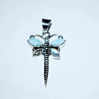 Серебряный кулон , серебряная подвеска стрекоза лунный камень, ларимар