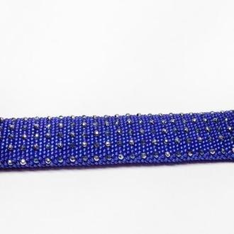 Синий браслет из бисера