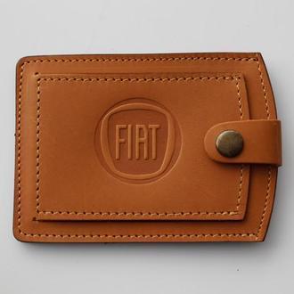 Кожаная обложка для прав Fiat желтая 5072