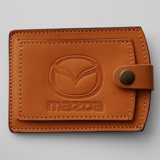 Кожаная обложка для прав Mazda желтая 5072