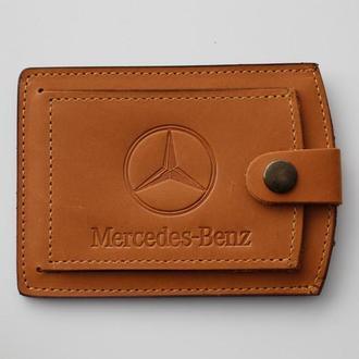 Кожаная обложка для прав Mercedes желтая 5072