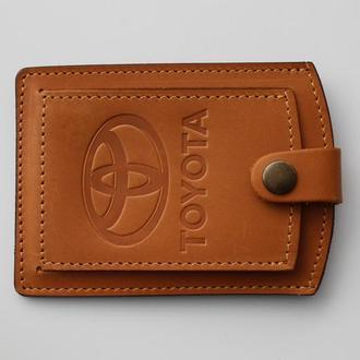 Кожаная обложка для прав Toyota желтая 5072