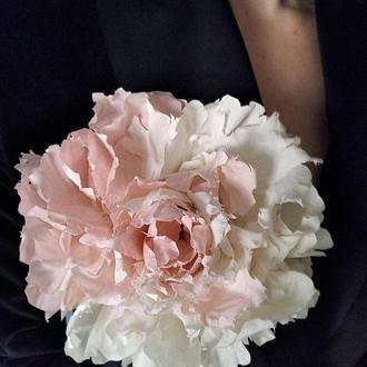 Эксклюзивный цветок. Брошь цветок. Пион из ткани. Аксессуар ручной работы