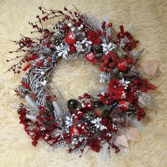 Новогодний рождественский венок подсвечник декор композиция новорічний вінок підсвічник композиція
