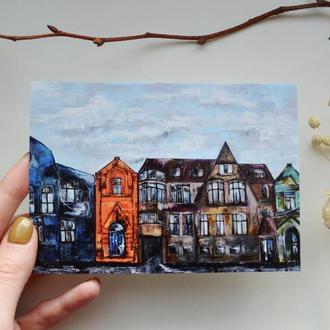"""открытка """"Дома"""""""