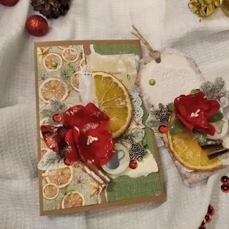 Зимняя открытка+тег в комплекте. Конверт для денег на магните в стиле скрапбукинг
