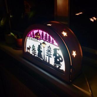 Рождественский Вальдорфский детский светильник ночник со сменными сюжетами Waldorf Silhouette Lamp