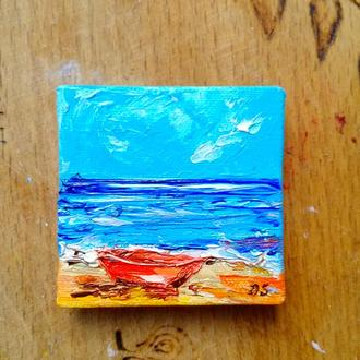 Лодка у моря (миниатюра)