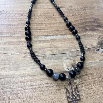 Ожерелье с Трезубцем , агат, шунгит, белый оникс, гематит