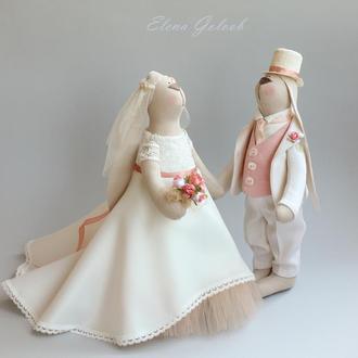 """Свадебная пара зайчиков """"Яблоневый цвет"""""""