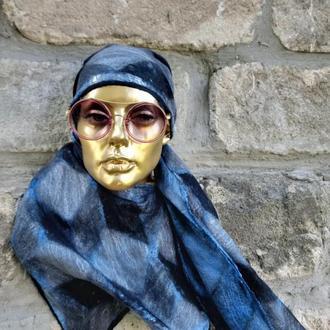 Шелково-шерстяной нежный унисекс шарф