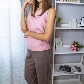 Комплект домашней женской одежды из натурального льна