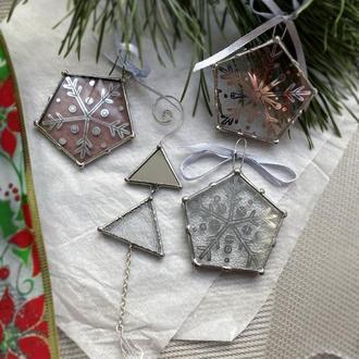 Набор стеклянных елочных украшений, рождественский декор