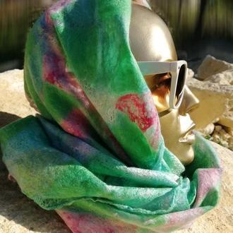 Зелено-розовый тонкий шарф