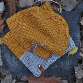Комплект шапка и снуд из 100% мериносовой шерсти