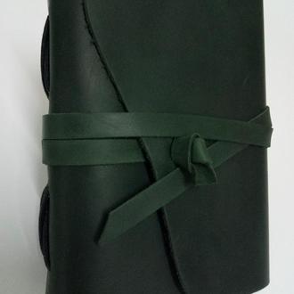 Кожаный блокнот COMFYSTRAP темно-зеленый В6 ручной работы
