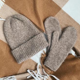 Вязаный комплект | Вязаная женская шапка | Вязаные варежки | Бежевая шапка