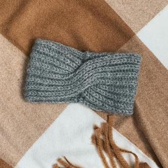 Повязка на голову | Женская повязка | Вязаная повязка чалма серая