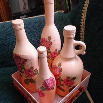 Набор декоративных бутылок для жидкостей