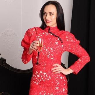 Платье жаккард красное