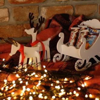 Новогодний декор, сани с оленями, набор сани и олени, сани кашпо, подарочный новогодний набор