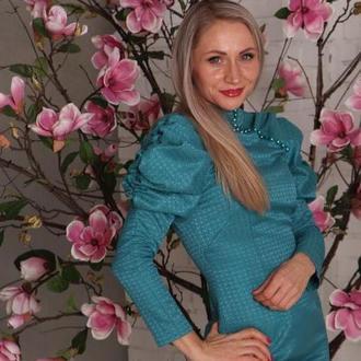 Платье жаккард бирюзовое