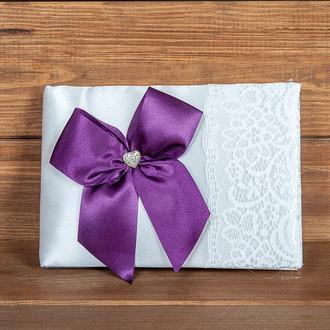 Свадебная книга пожеланий с фиолетовым бантом