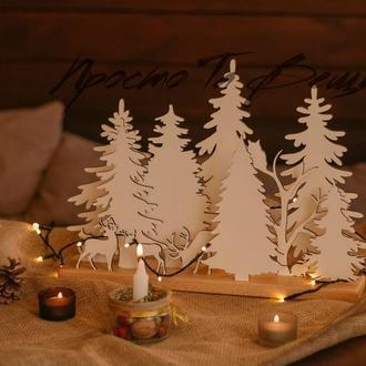 Новогодняя композиция, новогодний декор, подарок на Новый год,ялинка, корпоративный подарок,лес
