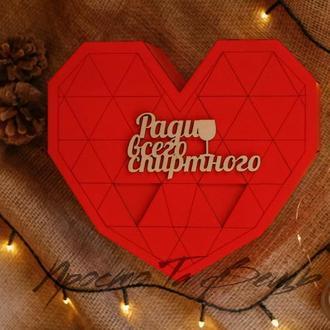 Деревянная подарочная коробка сердце, деревянная подарочная оригинальная упаковка