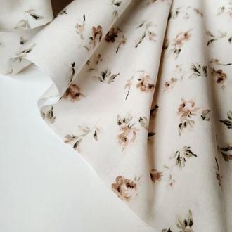Ткань хлопок для рукоделия винтажные розочки на светло-бежевом фоне