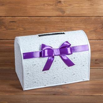 Кружевной сундучок для денег с атласным бантом фиолетовый