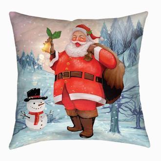 Новогодняя подушка «Санта и снеговик»