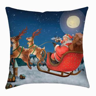 Новогодняя подушка Санта на санях