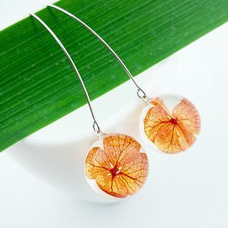 Яркие серьги с цветами гортензии Оранжевые цветы Подарок девушке (модель № 2699) Glassy Flowers