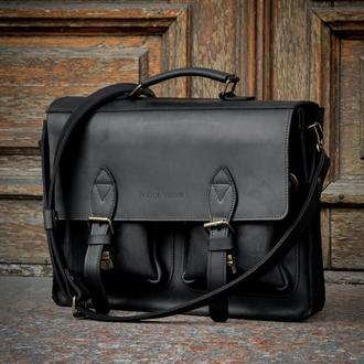 Кожаный мужской портфель. Сумка для ноутбука и документов
