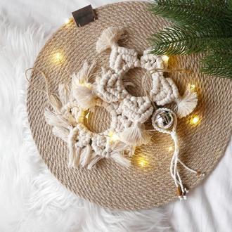 Игрушки новогодние на ёлку макраме плетение