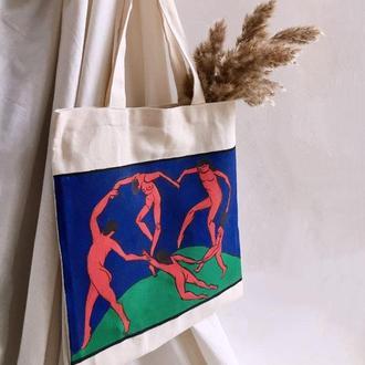Сумка-шопер, эко-сумка, шоппер с принтом, ручная роспись
