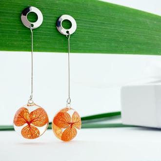 Длинные серьги с цветами гортензии Оранжевые цветы Подарок девушке (модель № 2701) Glassy Flowers