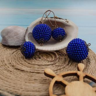 Серьги-шары из бисера матовые синие, 2 размера
