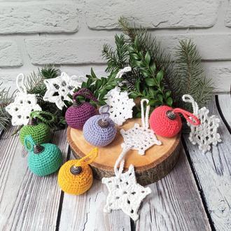 Вязанные ёлочные игрушки Набор новогодних украшений