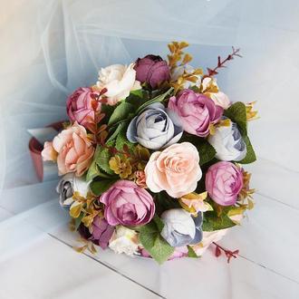Букет-дублер пудровый / Букет-дублер для свадьбы фиолетовый / Букет невесты / Букет подружкам
