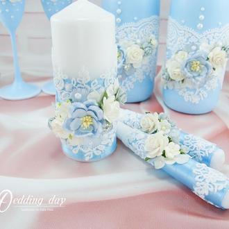 Свадебные свечи / Венчальные свечи / Свечи голубые / Блакитні свічки для весілля / Небесно-голубі