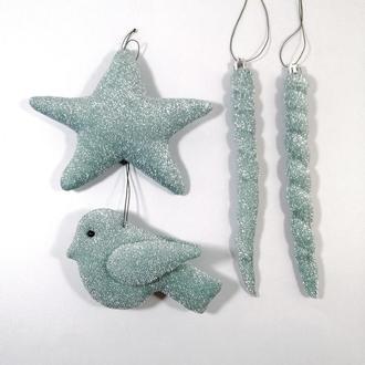 Мягкие елочные игрушки птичка звездочка и сосулька Серебристо зеленый новогодний декор