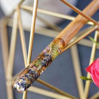 Заколка с лавандой Шпилька с сухоцветом Палочка для волос Из дерева и эпоксидной смолы Лаванда