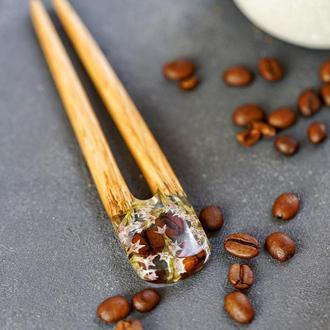 Шпилька с кофейными зернами Кофе в ювелирной смоле Заколка вилка из дерева для пучка