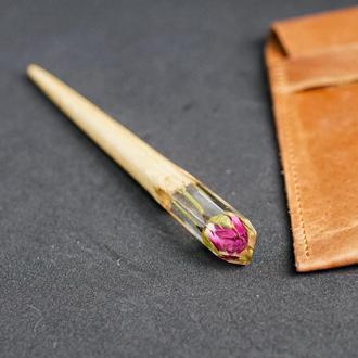 Шпилька с розовой розой Сухоцвет в ювелирной смоле Заколка палочка из дерева Для пучка