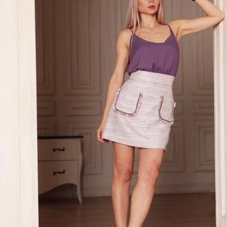 Короткая юбка твидовая лиловая