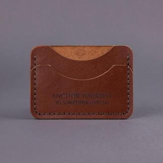 Кожаный кардхолдер C-One(Картхолдер, Визитница) - Коньячный