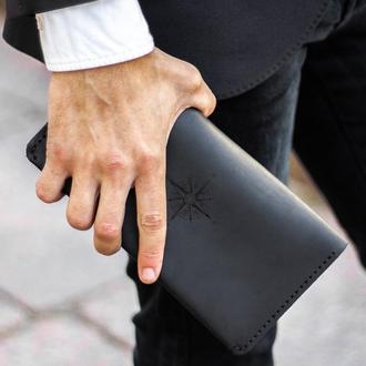 Мужское портмоне - клатч The Travel (Тревел-кейс) для документов, путешествий - Чёрный